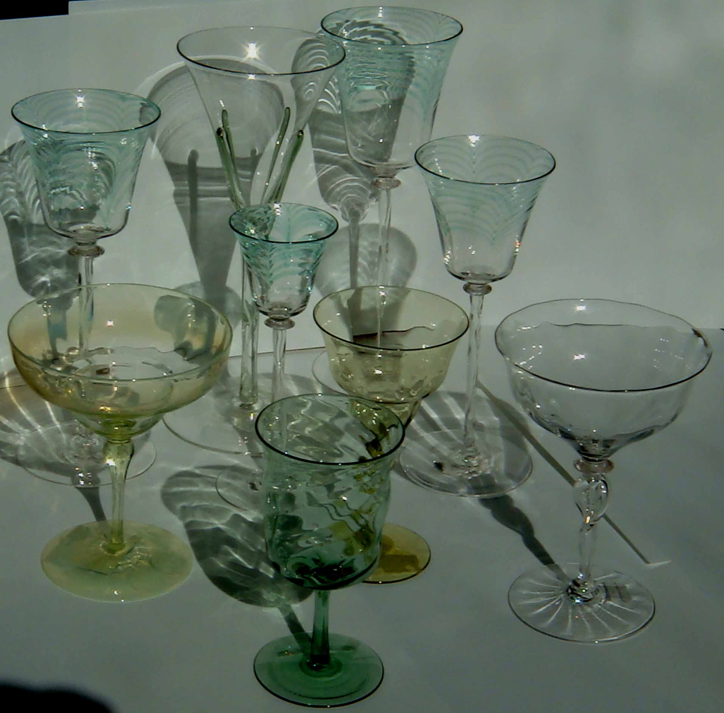 Whitefriars Glass Antique Coloured Colored Designed By Powell Teardrop And Threaded Wares